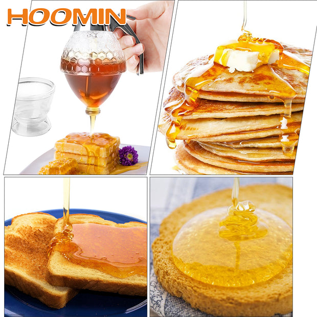 HOOMIN Juice Syrup Cup Storage Pot Stand Holder Kitchen Accessories Bee Drip Dispenser Kettle Honey Jar Container Squeeze Bottle