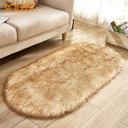 Hairy Floor Mat Oval Artificial Super Soft Long Plush Rug Tea Table Winter Comfortable Soft Imitated Wool Living Room
