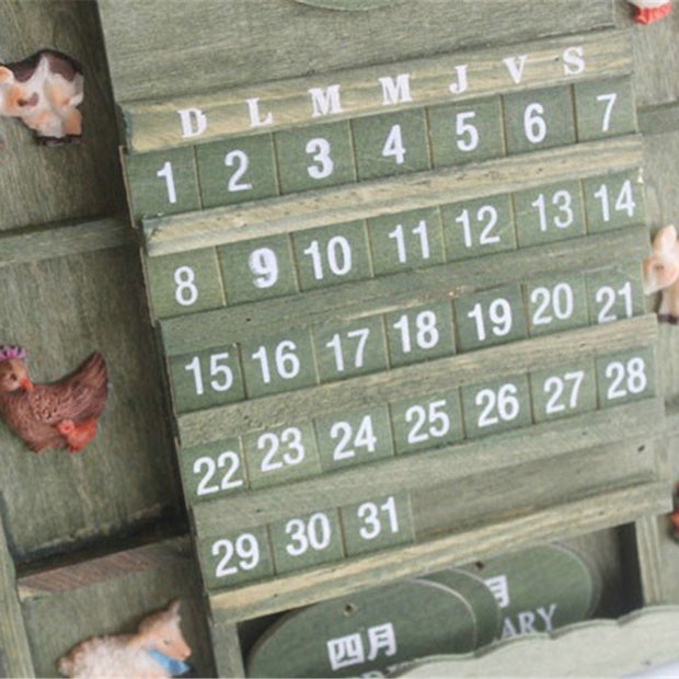 Hand-Carved Wood Calendar Ornaments Chicken Fashional For Living Room Bedroom Wall Decor Saat Home Watch Wall Gift