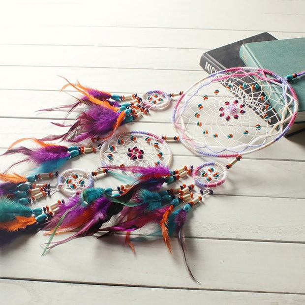 Handmade Fashion Design Dream Catcher Net With Feathers Wall Hanging Decoration Ornament