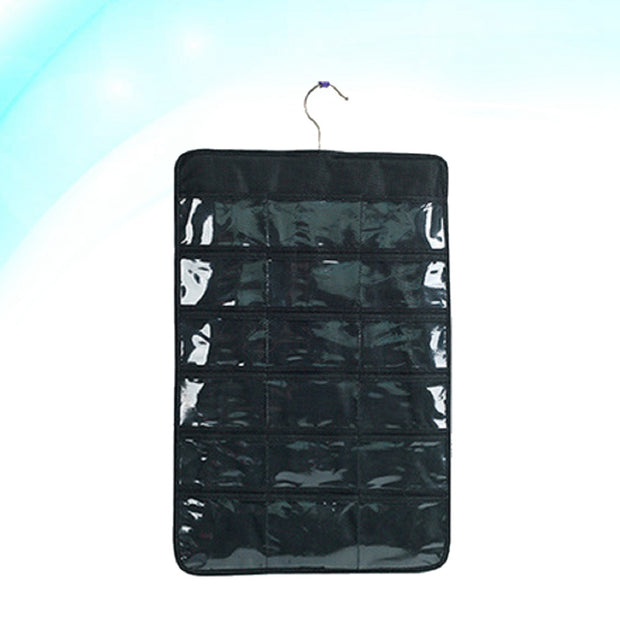 Hanging Storage Bag Dress Jewelry Holder Chains Necklaces Bracelet Earrings Ring Handbag Organizer Jewelry Display Bag (Black)