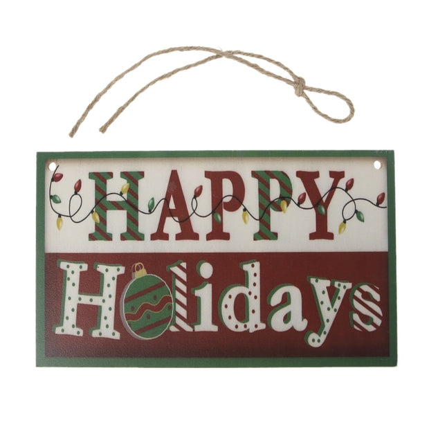 Happy Christmas Wooden Plaque Board Door Wall Hanging Wood Sign Home Decoration