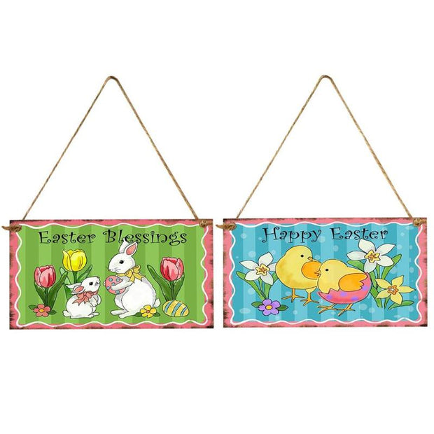 Happy Easter Wood Hanging Plaque Home Decorative Sign Festival Ornaments