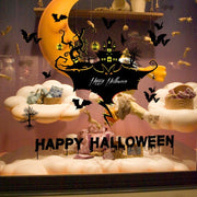 Happy Halloween Black Bat Castle Wall Stickers Removable Muursticker Hallween Glass Window Wall Decoration Stickers On The Wall