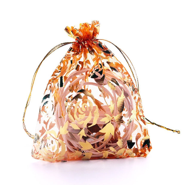 High Quality( 7X9 Cm) Gold Rose Organza Gift Bag Jewelry Travel Storage Pouch Mini Candy Packing Bags For Gift Bag (100 Pcs/Lot)