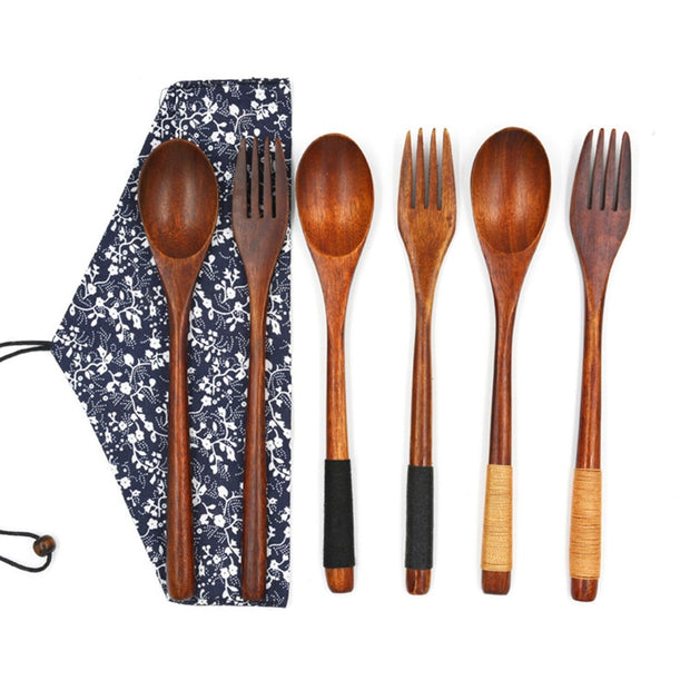 High Quality Wooden Dinnerware Set Japan Style Soup Teaspoon Catering Dinnerware Sets Fork Bamboo Kitchen Cooking Utensil Tool