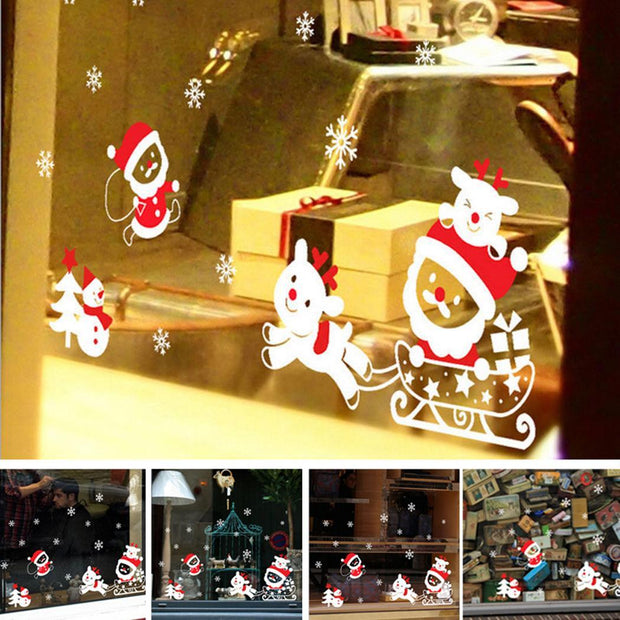Home Decor Christmas Window Wall Stickers Casual Removable As Picture DIY Stickers Cartoon Square