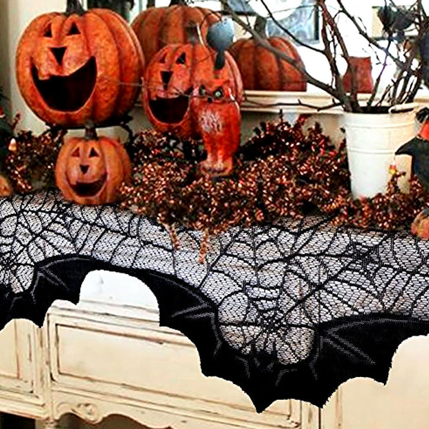 Home Decoration Dinner Wrinkle Resistant Tablecloth Scarf Spider Web Spooky Halloween Lace Table Decor Fireplace Party 20*80inch