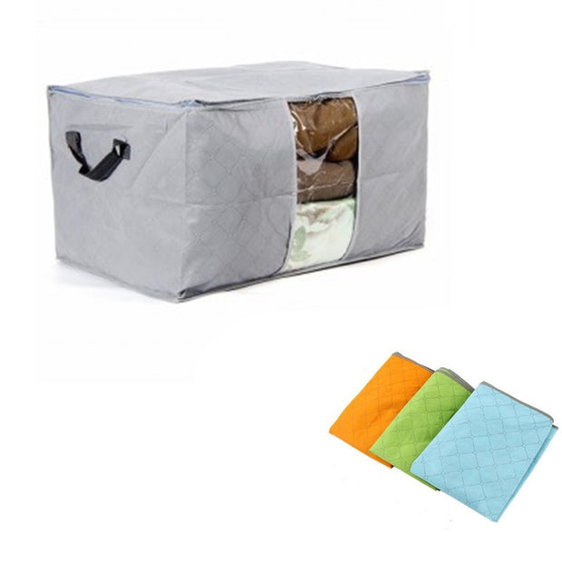 Home Storage Bag Clothes Quilt Bedding Duvet Storage Pouch Zipped Handle Portable Travel Pillow Blanket Laundry Organizer