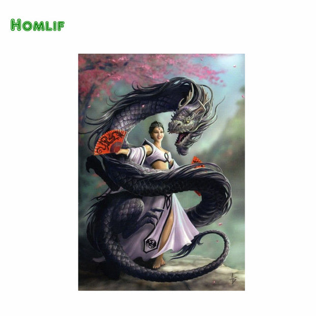 "Homif 5D Diy Diamond Painting Crystal Painting Diamonds Decorative ""women And Dragon""diy Diamond Embroidery Kits"