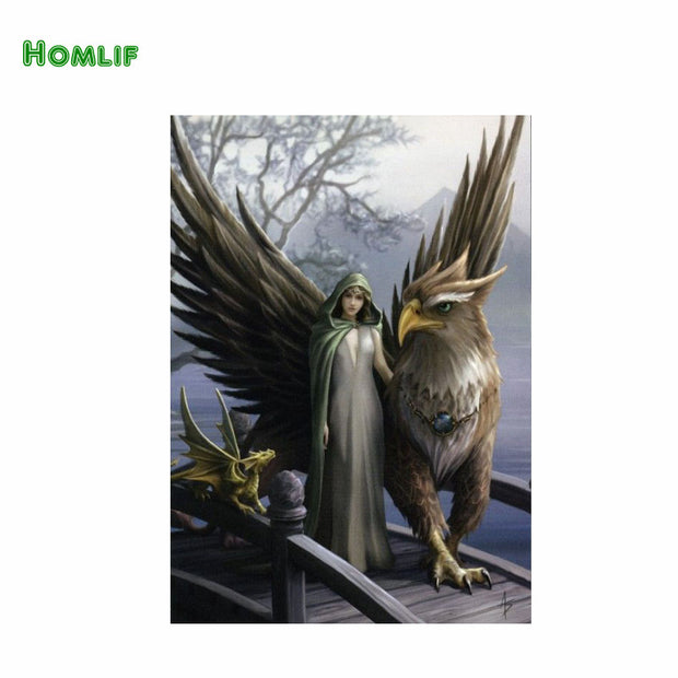 "Homif Canvas Diamond Cross Stitch Sets Crystal Needlework Diy Diamond ""women And Bird""embroidery Diamond Pattern"