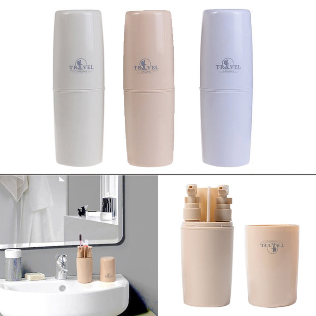 Hoomall 4pcs/set Travel Wash Toiletries Storage Cup Box Home Organizer Supplies Double Cups Container Toothbrush Portable Holder