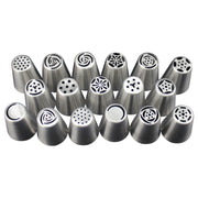 Hot 17Pcs Russian Tulip Stainless Steel Nozzles Cupcake Decorating Icing Piping Nozzles Flower Cream Pastry Tips