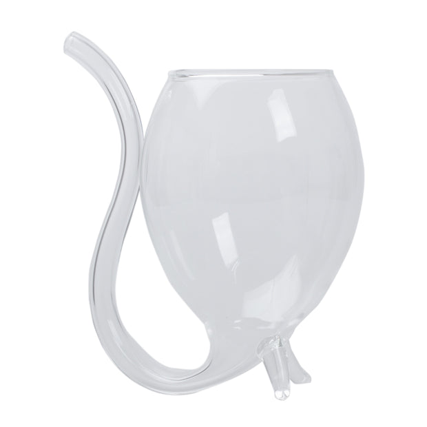 Hot Clear Wine/Water Glass Cup Mug With Drinking Tube Straw Novelty Gift
