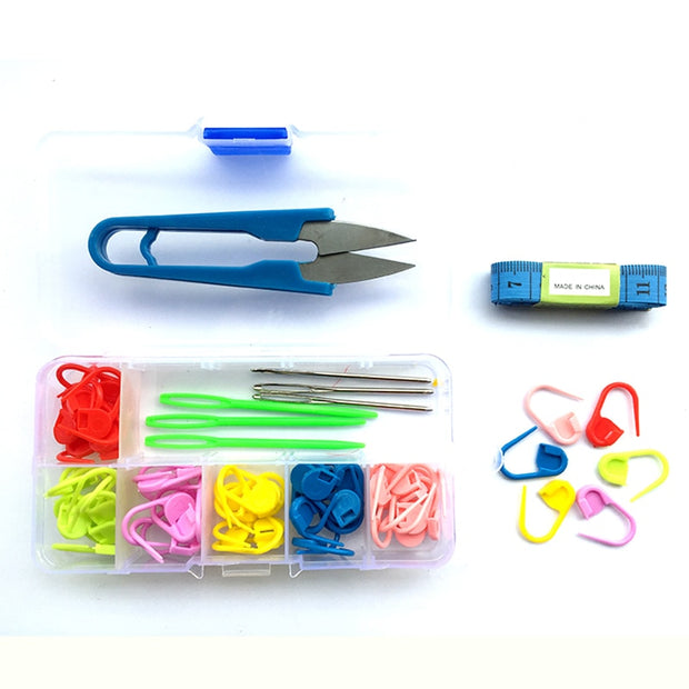 Hot DIY Scissors Ruler Crochet Tools Set Colorful Mark Pins Clasp Knitting Sewing Pins Tools Box Accessories Pin Patchwork,Z4999
