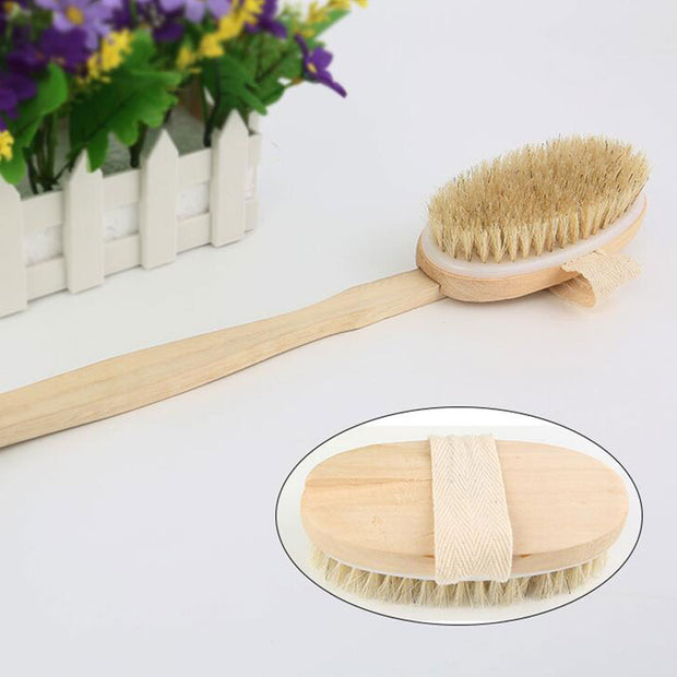 Hot Dry Skin Body Soft Natural Bristle The SPA The Brush Wooden Bath Shower Bristle Brush SPA Body Brush With Handle