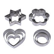 Hot Sale 12pcs/set Metal Star Heart Shape Cookie Cutters Tool Kitchen Cake Decorating Molds Baking Cookie Mould Kitchen Cool