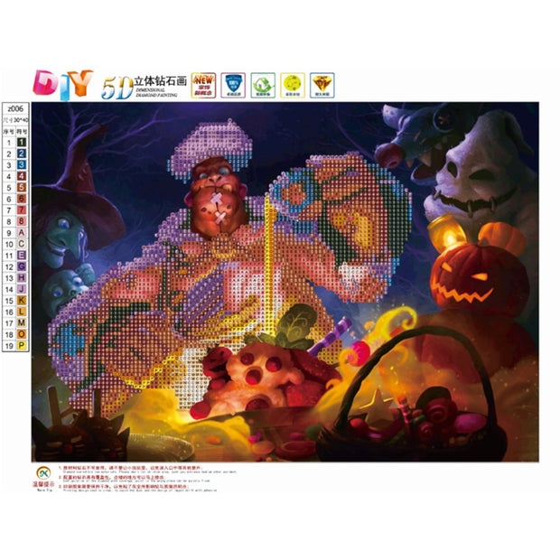 "Hot Sell Round Drill 5D DIY Diamond Painting ""Halloween Lantern"" 3D Embroidery Cross Stitch Mosaic Decor Drop Shipping"