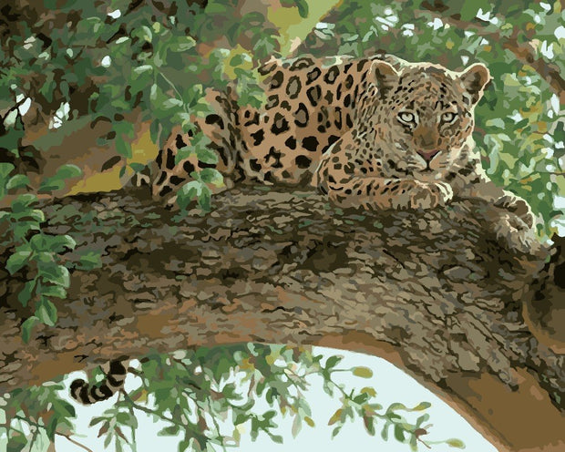 Hot Selling Crafts Digital Oil Painting A Leopard On The Tree Frameless Handpainted Oil Painting DIY Painting By Numbers Kits