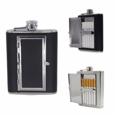 JX-LCLYL Portable Stainless Steel Liquor Wine Alcohol Flagon Hip Flask + Cigarette Case