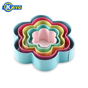 KMYC 5pcs/set Stainless Steel Cookie Molds Painting Flower Shape Colorful Cake Molds Fondant Cutter Bakeware Dining&Bar