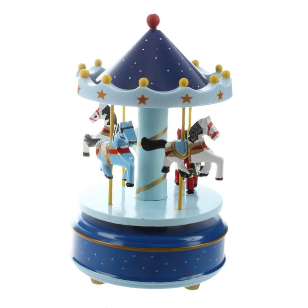 KSFS Musical Carousel Horse Wooden Carousel Music Box Toy Child Baby Deep Blue Game Wood And Plastic Horses
