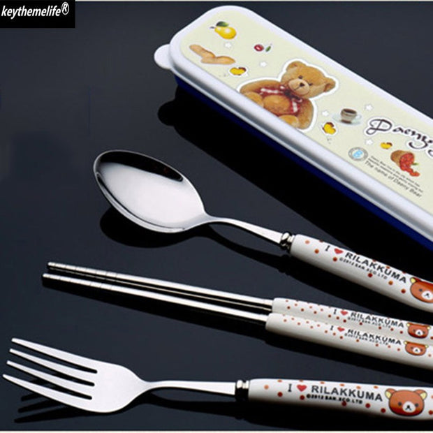 Keythemelife Ceramic Handle Stainless Steel Fork With Box Cute Kawaii Bear Dinnerware Tableware Lunch Set 7B