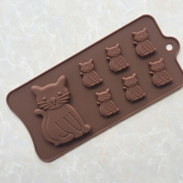 Kitty Chocolate Soap Candle Mold Silicone Molds Biscuit Silicone Ice Tray Animal Sugar Mould
