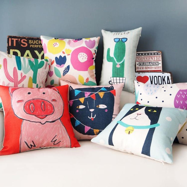 Korean Small Fresh Art Pillowcase Cactus Cat Pig Lovers Gift Cushion Decorative Pillow Home Decor Sofa Throw Pillows Almofada