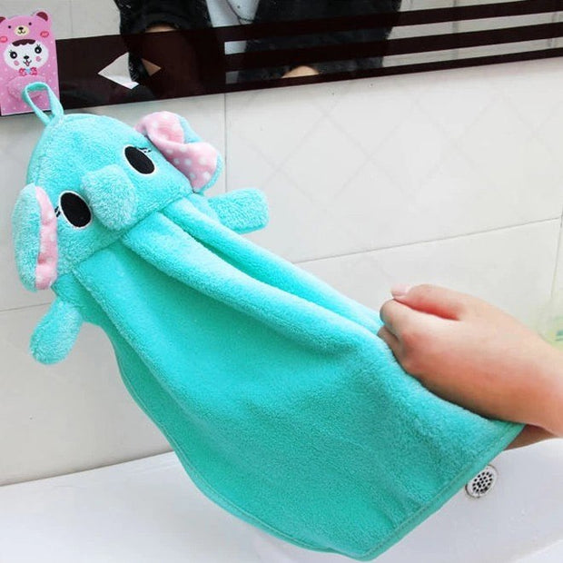 Korean Cartoon Coral Velvet Towel Kitchen Hanging Hand Cloth Handkerchief Hand-wiping Rags Absorbent Towels Free Shipping