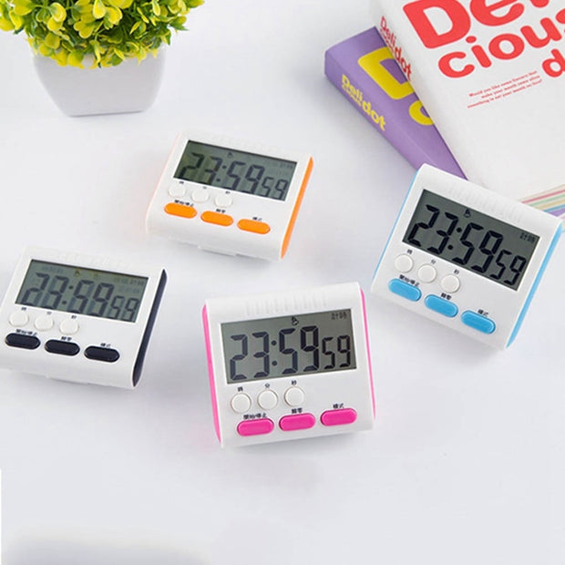 LCD Digital Timers Countdown Magnetic Timer Back Stand Cooking Timer Count Up Alarm Clock Kitchen Gadgets Cooking Tools