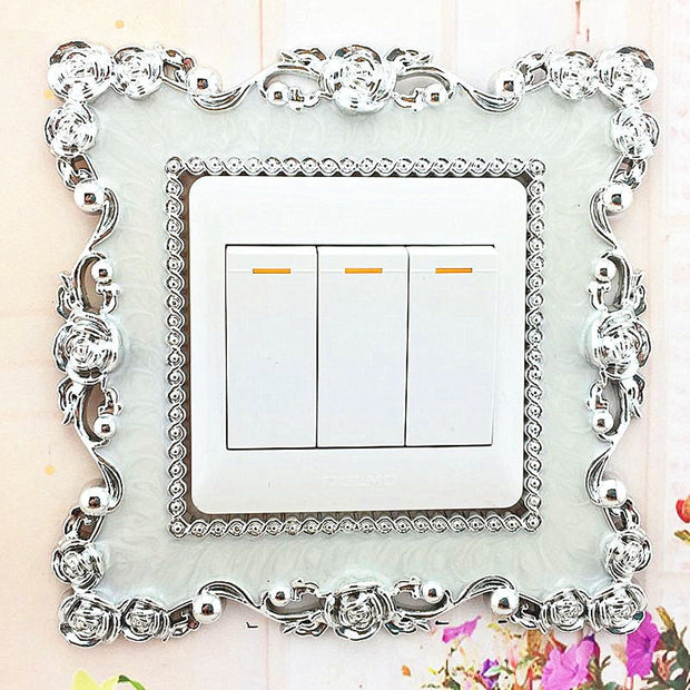 Lace Border Home Switch Cover Square Shape Switch Wall Light Socket Stickers Room Decoration Accessories Wall Sticker Wallpaper
