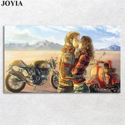 Large Wall Poster Mood Kiss Love Motorbike Art Painting Scenery Vintage Home Decor Bedroom Decorative Picture