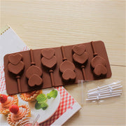 Lollipop Mold Silicone Heart Shape Chocolate Mold Soap Mold With 6PCS Stick