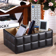 Luxury PU Leather Remote Control Phone Holder Home Organizer Storage Boxes