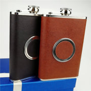 Luxury Stainless Steel Shot Glass Hip Flasks 8OZ Black Or Brown Leather Wrapped + TeleScope Cup + Free Funnel Food Degree