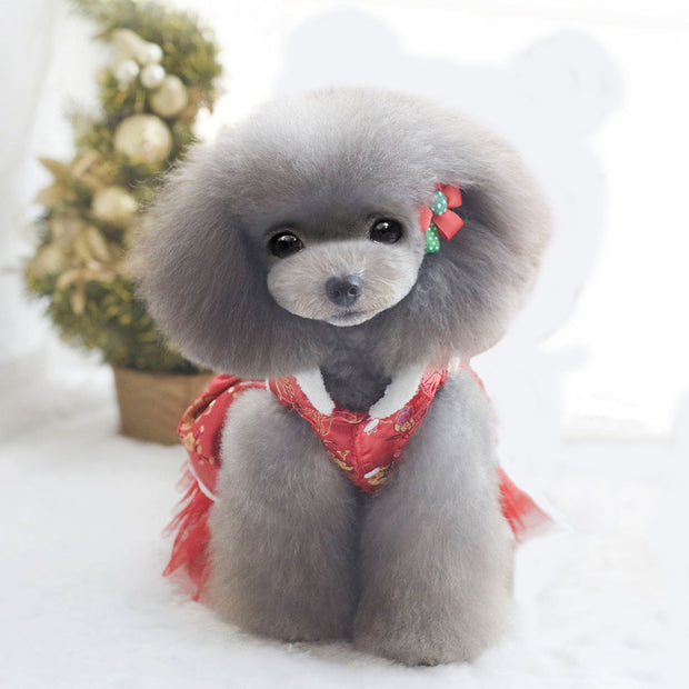 MUQGEW Dog Dress Tang Suit Winter Warm Coat Small Pet Cat Skirt Clothes Puppy Winter Apparels Warm Coat Roupas Para Cachorro