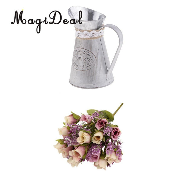 MagiDeal Artificial Roses 20 Heads Bouquet For Home Garden Party Decoration+Vase