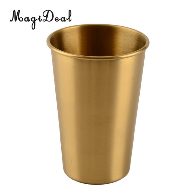 MagiDeal Stainless Steel Cold Drink Beer Single Wall Water Tumbler Indoor Outdoor