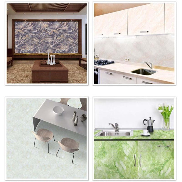 Marble Wall Sticker Waterproof PVC Self-adhesive Tile Floor Glass Decal Kitchen Window Home Decor 4style Wall Sticker Wall Decor