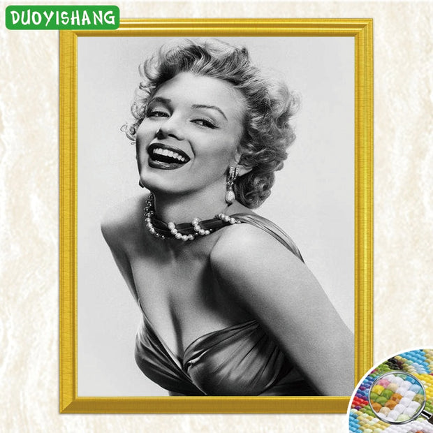 Marilyn Monroe Smiling Grey Background 5D DIY Diamond Painting Full Square Diamond Embroidery Sale Rhinestones Mosaic Painting