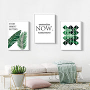 Minimalist Wall Decor Art Pictures Green Leaves Canvas Prints YESTERDAY NOW TOMORROW Poster Home Living Decor 12X18 20X30 24x36""