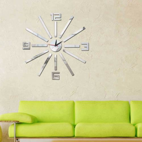 Modern 3D Large Number Mirror Surface Wall Clock Sticker Home Office Room DIY Decor