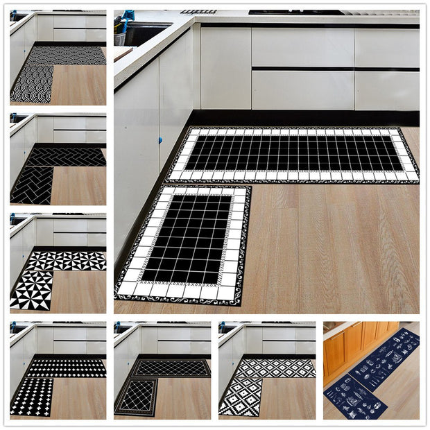 Modern Geometric Kitchen Mat Anti-Slip Bathroom Carpet Home Entrance/Hallway Door Mat Wardrobe/Balcony Area Rug Creative Carpets