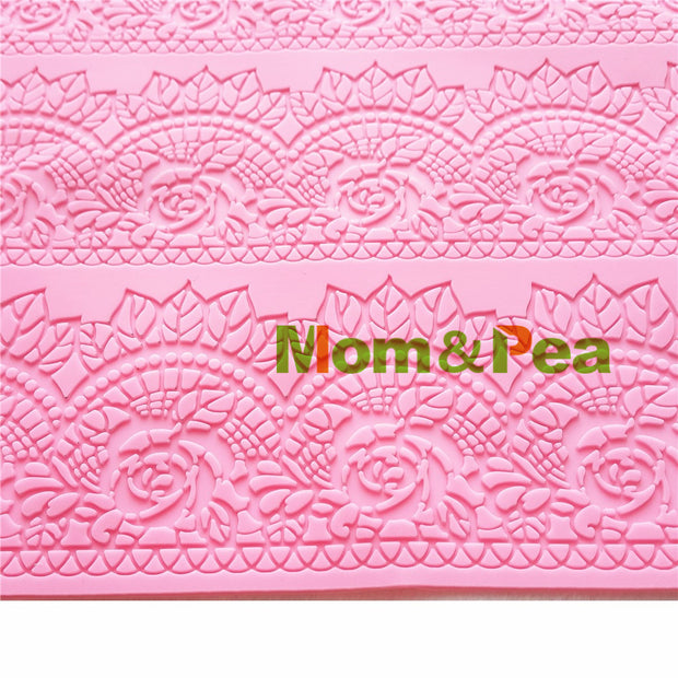 Mom&Pea GX184 Free Shipping Lace Mold Cake Decoration Fondant Cake 3D Mold Food Grade Silicone Mould