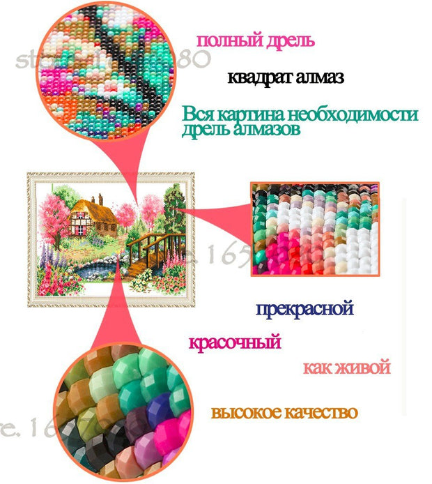 NEW 5D DIY Diamond Painting Landscape Seaside House Square Diamond Mosaic European Town Cross-stitch Handicraft Wall Decoration