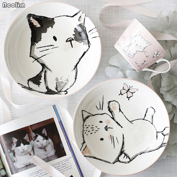 NOOLIM Home Cat Soup Dish Deep Dish Ceramic Plate Shallow Mouth Bowl Under Glazed Large Cute Cat Steak Dessert Plate Tableware