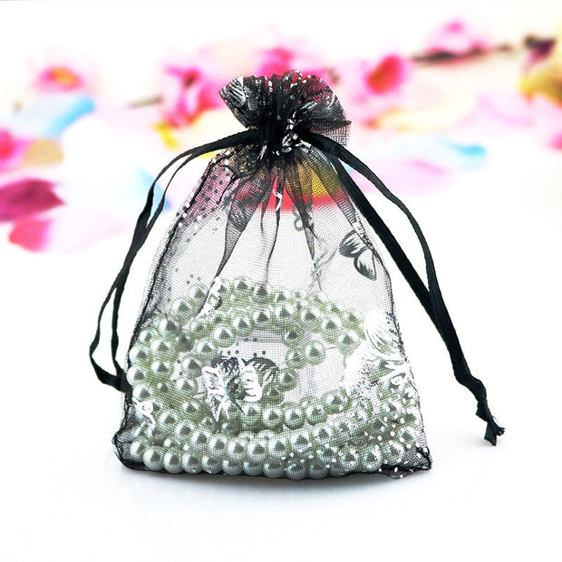 New 100pcs Hot (7*9cm) Butterfly Print Bag Jewelry Pouch Gift Bags Wedding Favors And Gifts Cheap Organza Pouches Decoration