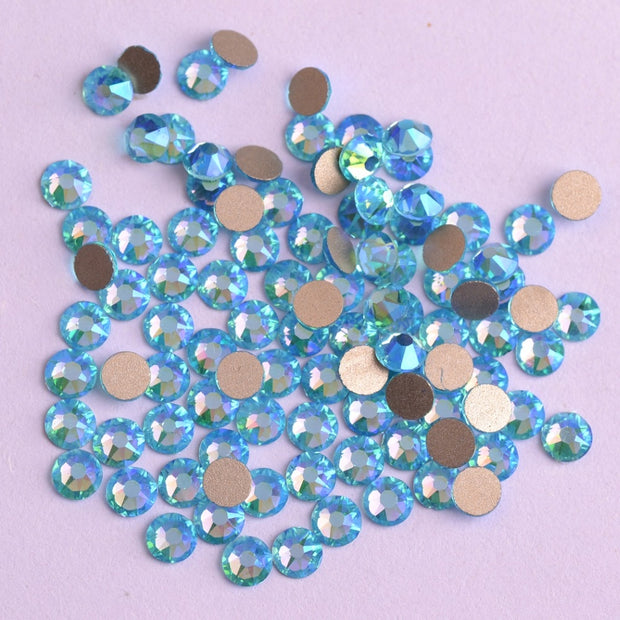 New 2088 Cut Aquamarine AB Non Hotfix 16 Facets 8+8 Nail Art Rhinestones Golden Base For Luxury Decors The Best Quality