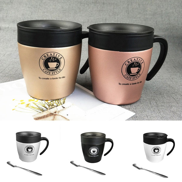 New Creative Coffee Thermos Mug Stainless Steel Handle Tumbler Insulated Water Coffee Cups Accessories